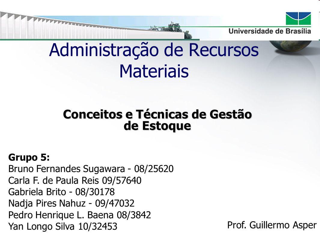 Administração de Recursos Materiais Conceitos e Técnicas de Gestão de Estoque Grupo 5: Bruno Fernandes Sugawara - 08/25620 Carla F. de Paula Reis 09/5