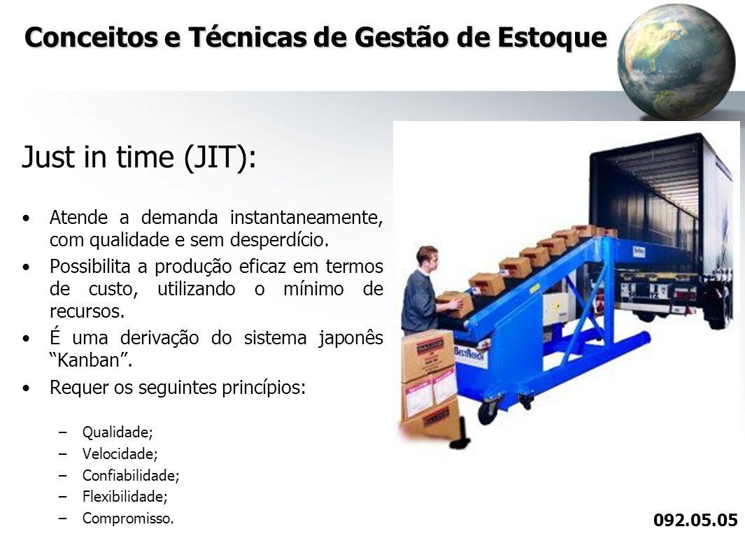 Conceitos e Técnicas de Gestão de Estoque Just in time (JIT): Atende a demanda instantaneamente, com qualidade e sem desperdício. Possibilita a produç