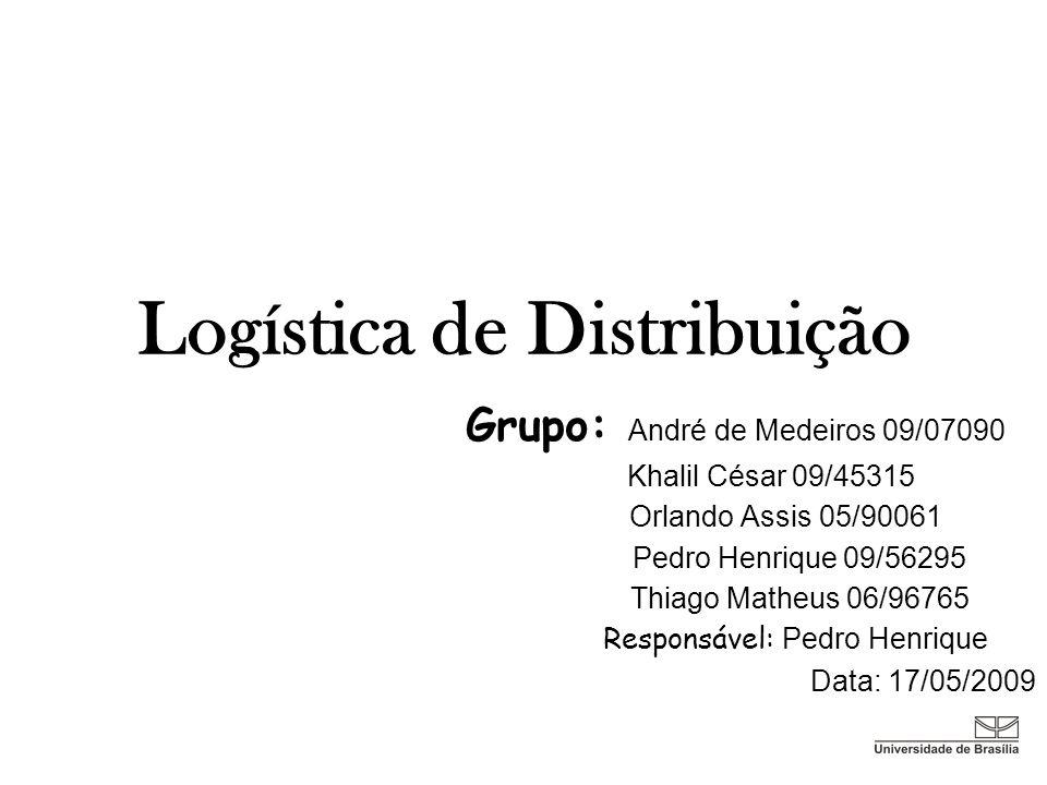 Logística de Distribuição Grupo: André de Medeiros 09/07090 Khalil César 09/45315 Orlando Assis 05/90061 Pedro Henrique 09/56295 Thiago Matheus 06/967
