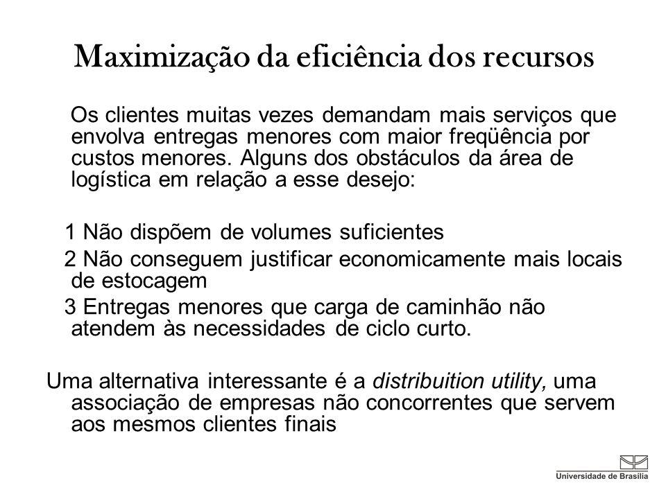Maximização da eficiência dos recursos Os clientes muitas vezes demandam mais serviços que envolva entregas menores com maior freqüência por custos me