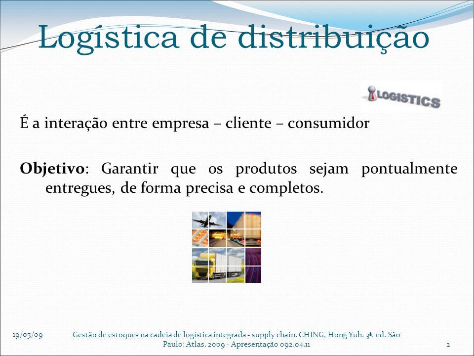 19/05/09 Gestão de estoques na cadeia de logística integrada - supply chain. CHING, Hong Yuh. 3ª. ed. São Paulo: Atlas, 2009 - Apresentação 092.04.112