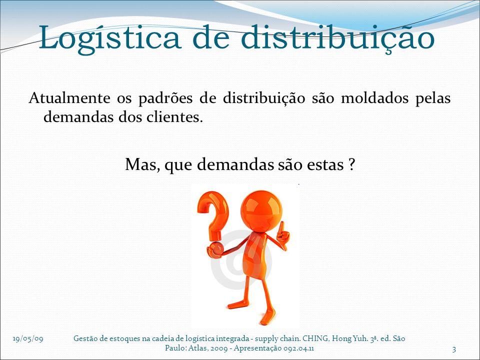 19/05/09 Gestão de estoques na cadeia de logística integrada - supply chain. CHING, Hong Yuh. 3ª. ed. São Paulo: Atlas, 2009 - Apresentação 092.04.113