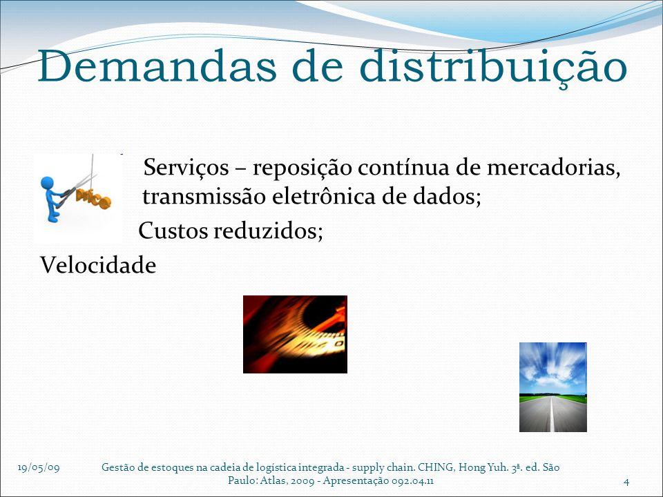 19/05/09 Gestão de estoques na cadeia de logística integrada - supply chain. CHING, Hong Yuh. 3ª. ed. São Paulo: Atlas, 2009 - Apresentação 092.04.114