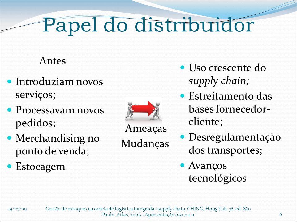 19/05/09 Gestão de estoques na cadeia de logística integrada - supply chain. CHING, Hong Yuh. 3ª. ed. São Paulo: Atlas, 2009 - Apresentação 092.04.116