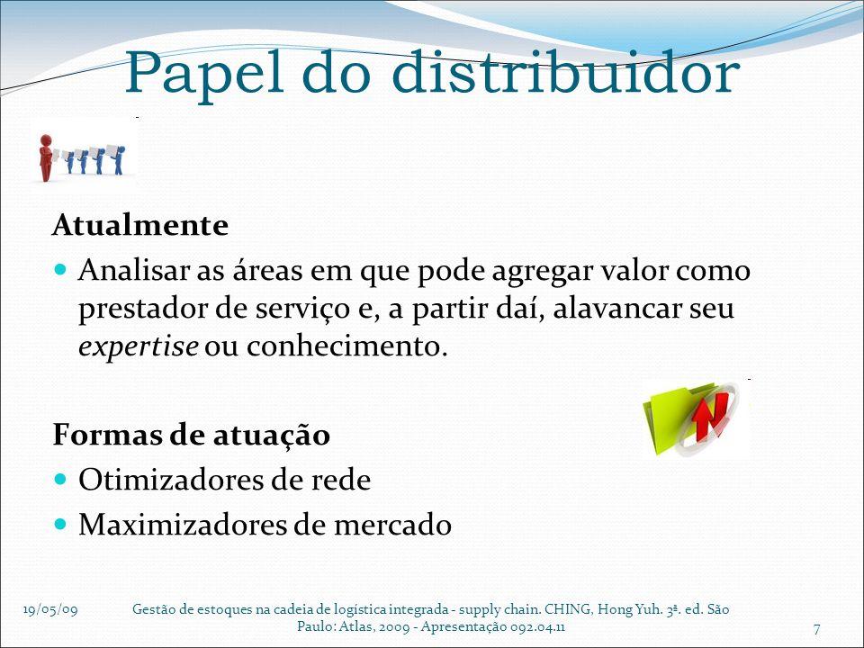 19/05/09 Gestão de estoques na cadeia de logística integrada - supply chain. CHING, Hong Yuh. 3ª. ed. São Paulo: Atlas, 2009 - Apresentação 092.04.117