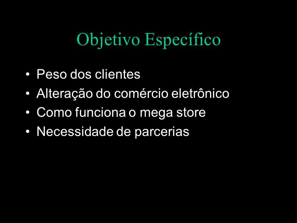 Objetivo Específico Peso dos clientes Alteração do comércio eletrônico Como funciona o mega store Necessidade de parcerias