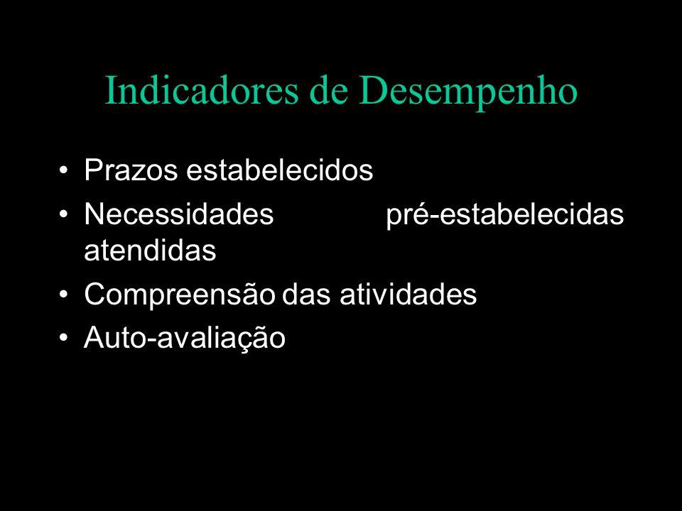 Indicadores de Desempenho Prazos estabelecidos Necessidades pré-estabelecidas atendidas Compreensão das atividades Auto-avaliação