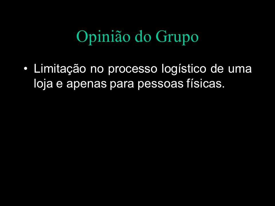 Opinião do Grupo Limitação no processo logístico de uma loja e apenas para pessoas físicas.
