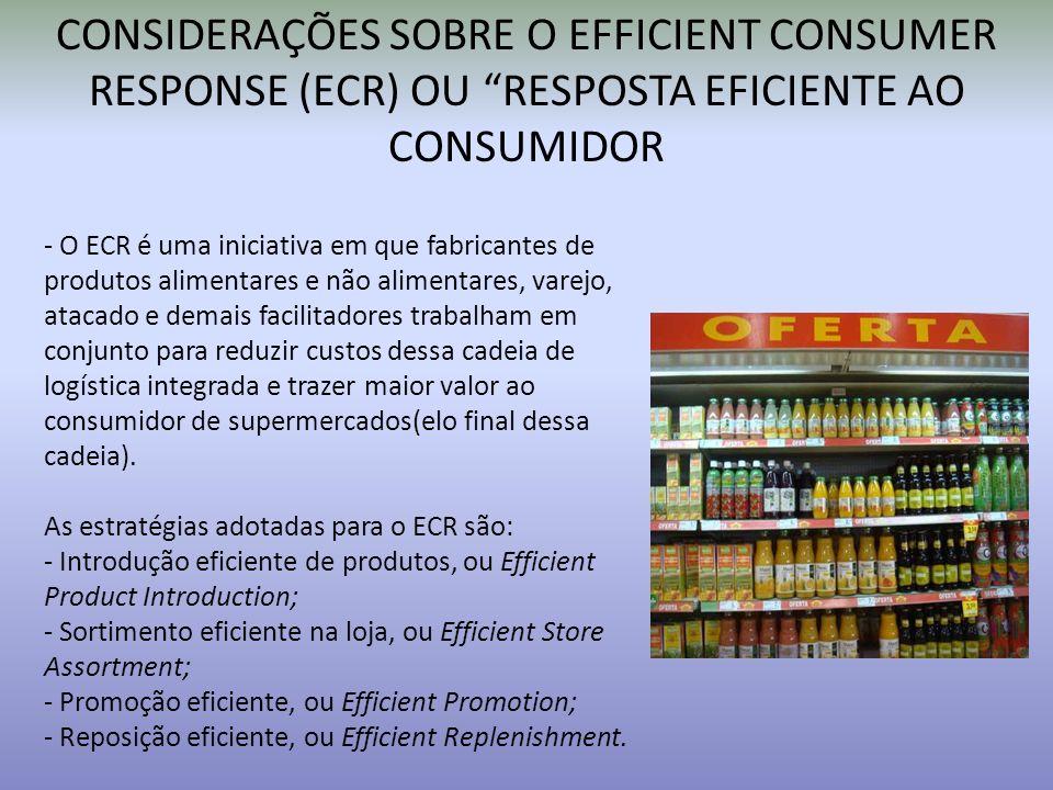 CONSIDERAÇÕES SOBRE O EFFICIENT CONSUMER RESPONSE (ECR) OU RESPOSTA EFICIENTE AO CONSUMIDOR - O ECR é uma iniciativa em que fabricantes de produtos al