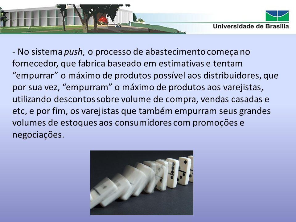 - No sistema push, o processo de abastecimento começa no fornecedor, que fabrica baseado em estimativas e tentam empurrar o máximo de produtos possíve