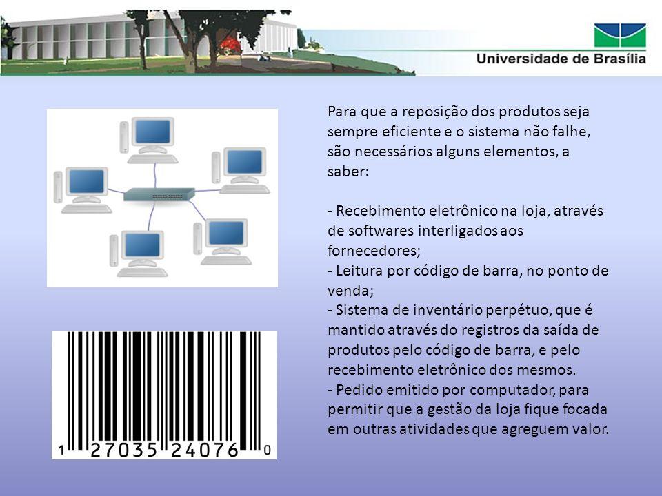 Para que a reposição dos produtos seja sempre eficiente e o sistema não falhe, são necessários alguns elementos, a saber: - Recebimento eletrônico na