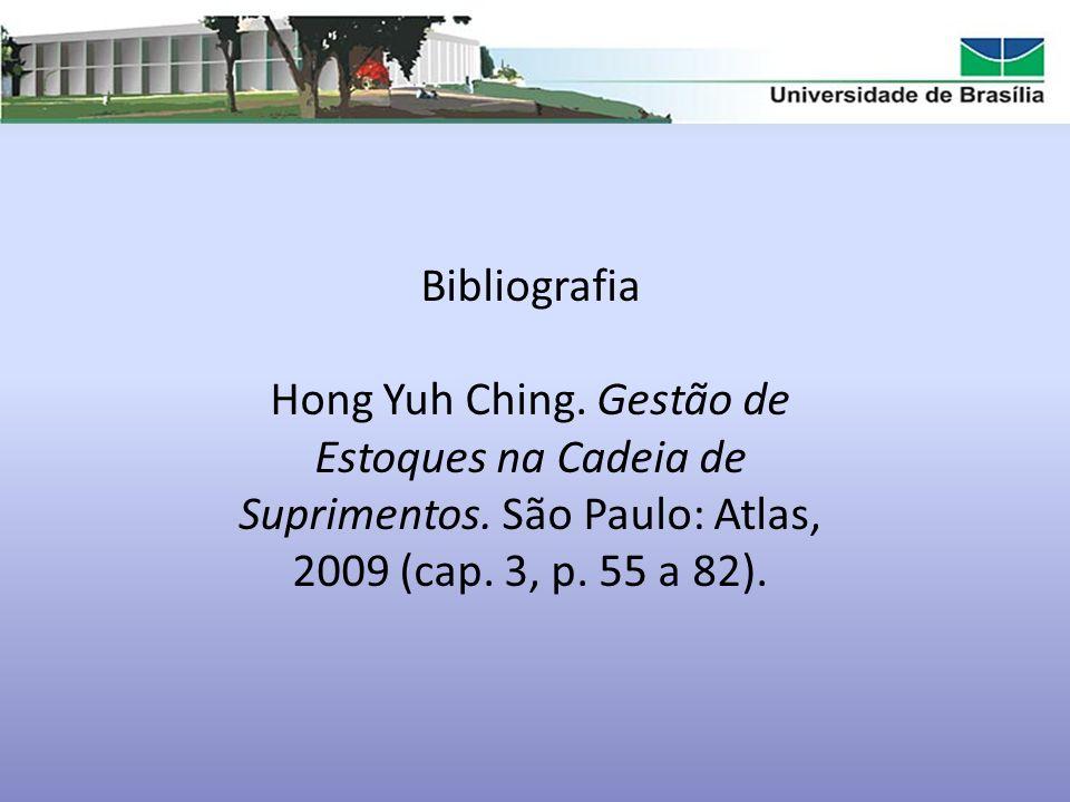 Bibliografia Hong Yuh Ching. Gestão de Estoques na Cadeia de Suprimentos. São Paulo: Atlas, 2009 (cap. 3, p. 55 a 82).