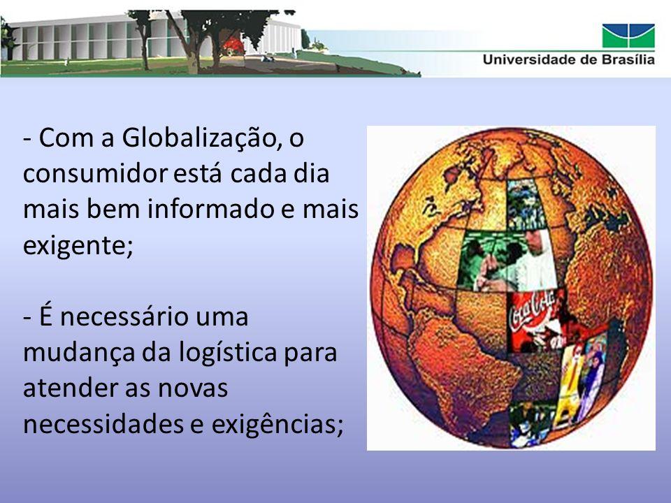 - Com a Globalização, o consumidor está cada dia mais bem informado e mais exigente; - É necessário uma mudança da logística para atender as novas nec