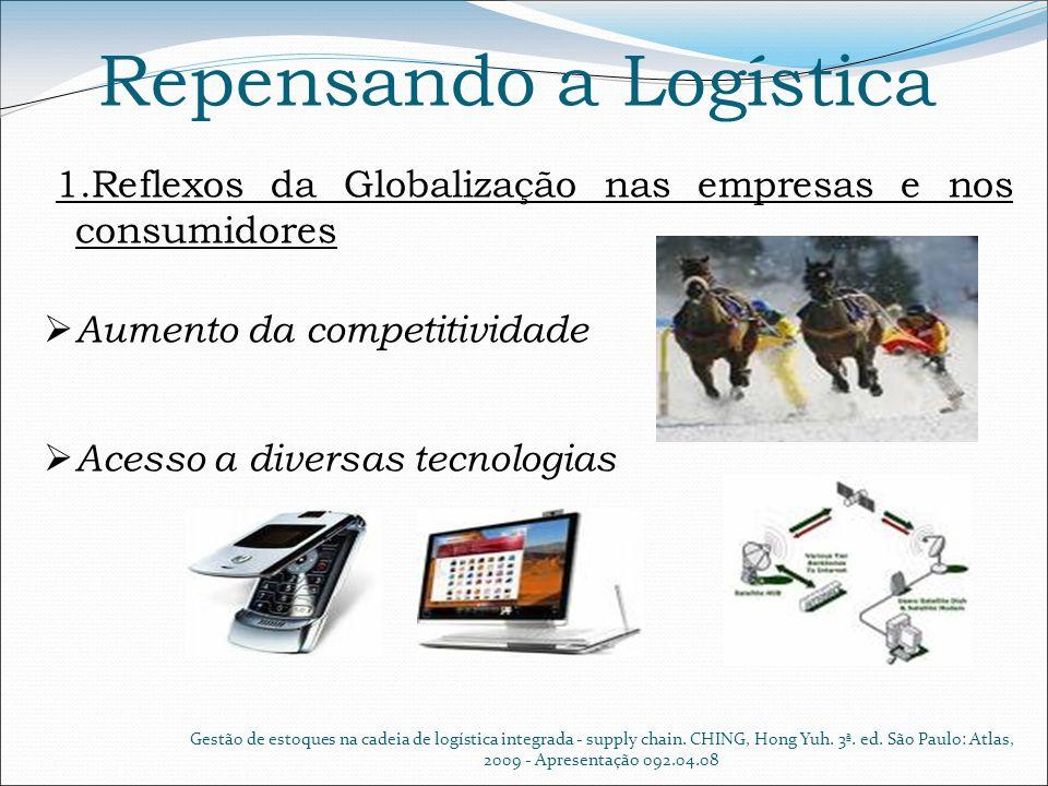 Repensando a Logística 1.Reflexos da Globalização nas as empresas e nos consumidores Mercado consumidor mais exigente Gestão de estoques na cadeia de logística integrada - supply chain.
