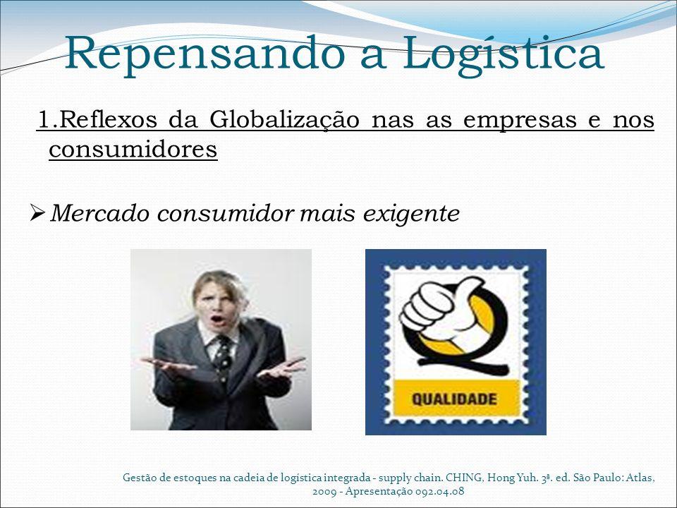 Repensando a Logística 1.Reflexos da Globalização nas as empresas e nos consumidores Mercado consumidor mais exigente Gestão de estoques na cadeia de