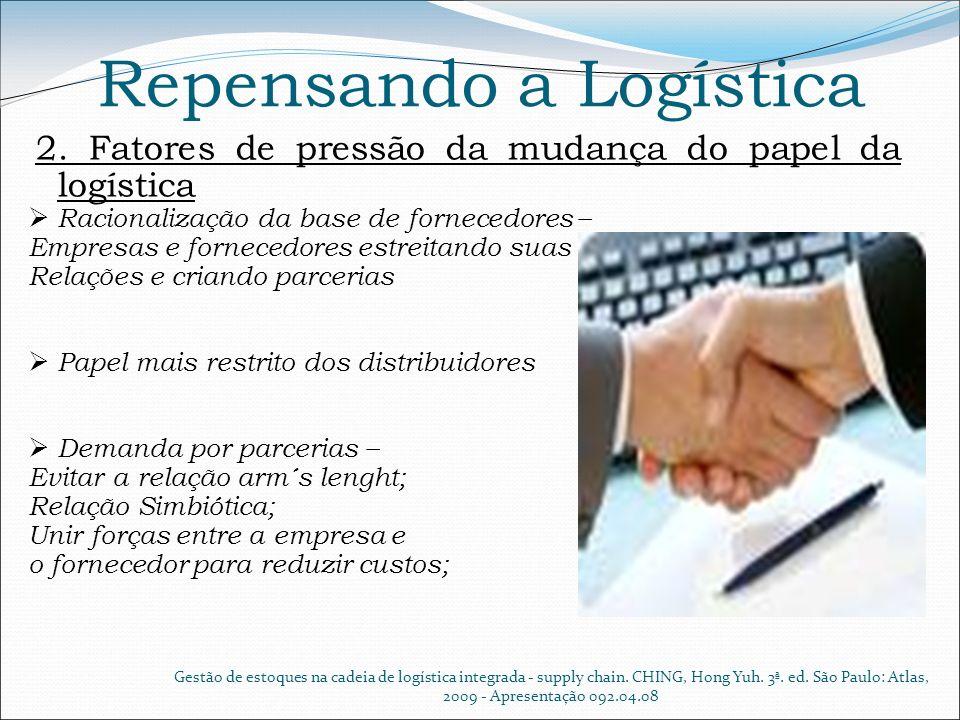 Repensando a Logística 2. Fatores de pressão da mudança do papel da logística Racionalização da base de fornecedores – Empresas e fornecedores estreit