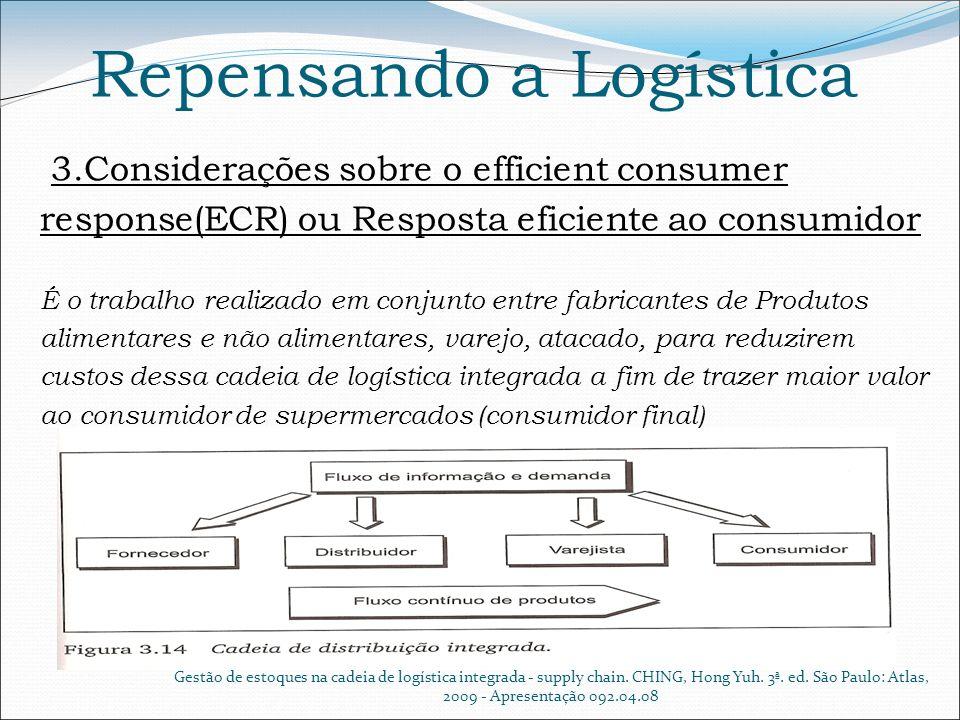 Repensando a Logística 3.Considerações sobre o efficient consumer response(ECR) ou Resposta eficiente ao consumidor É o trabalho realizado em conjunto