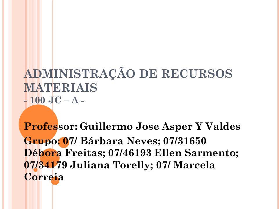 ADMINISTRAÇÃO DE RECURSOS MATERIAIS - 100 JC – A - Professor: Guillermo Jose Asper Y Valdes Grupo: 07/ Bárbara Neves; 07/31650 Débora Freitas; 07/4619