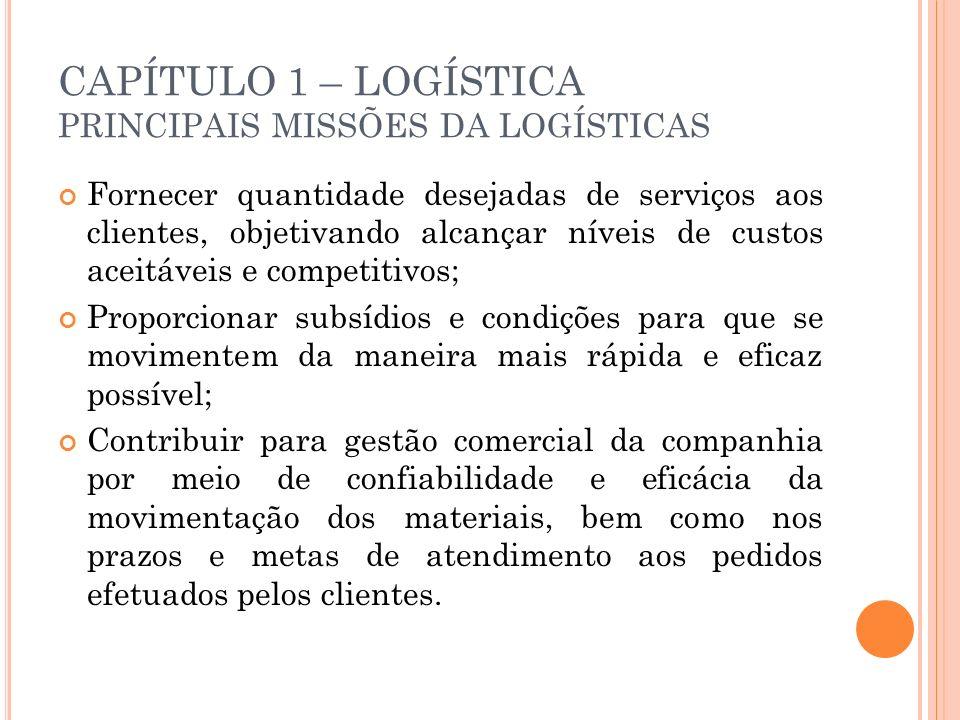 CAPÍTULO 1 – LOGÍSTICA PRINCIPAIS MISSÕES DA LOGÍSTICAS Fornecer quantidade desejadas de serviços aos clientes, objetivando alcançar níveis de custos