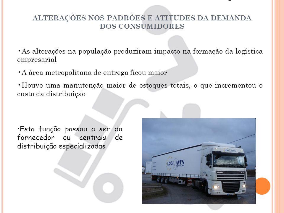 ALTERAÇÕES NOS PADRÕES E ATITUDES DA DEMANDA DOS CONSUMIDORES As alterações na população produziram impacto na formação da logística empresarial A áre