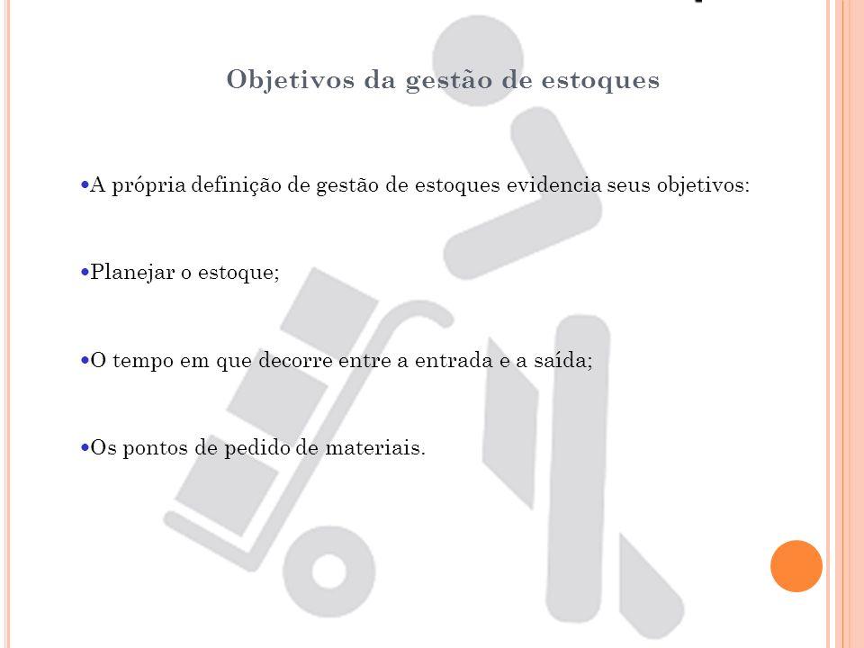 Objetivos da gestão de estoques A própria definição de gestão de estoques evidencia seus objetivos: Planejar o estoque; O tempo em que decorre entre a
