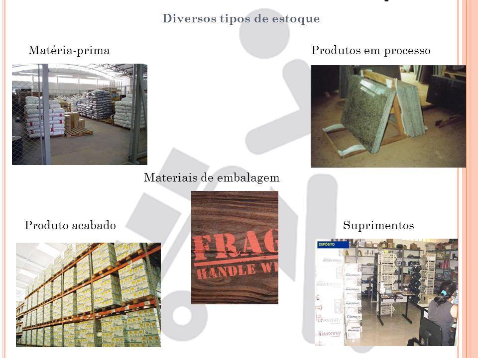 Diversos tipos de estoque Matéria-primaProdutos em processo Materiais de embalagem Produto acabadoSuprimentos