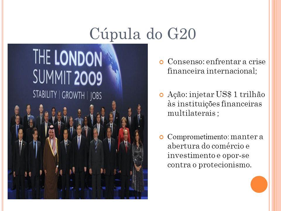 Cúpula do G20 Consenso: enfrentar a crise financeira internacional; Ação: injetar US$ 1 trilhão às instituições financeiras multilaterais ; Comprometi