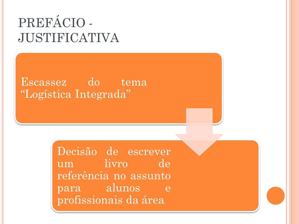 PREFÁCIO - JUSTIFICATIVA Escassez do tema Logística Integrada Decisão de escrever um livro de referência no assunto para alunos e profissionais da áre