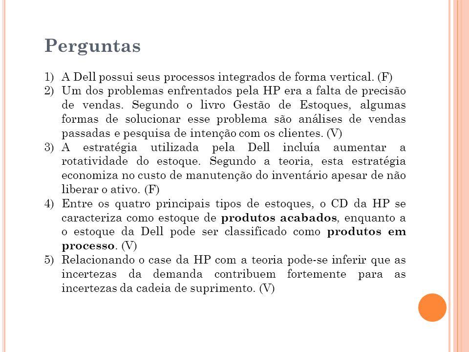 Perguntas 1)A Dell possui seus processos integrados de forma vertical. (F) 2)Um dos problemas enfrentados pela HP era a falta de precisão de vendas. S