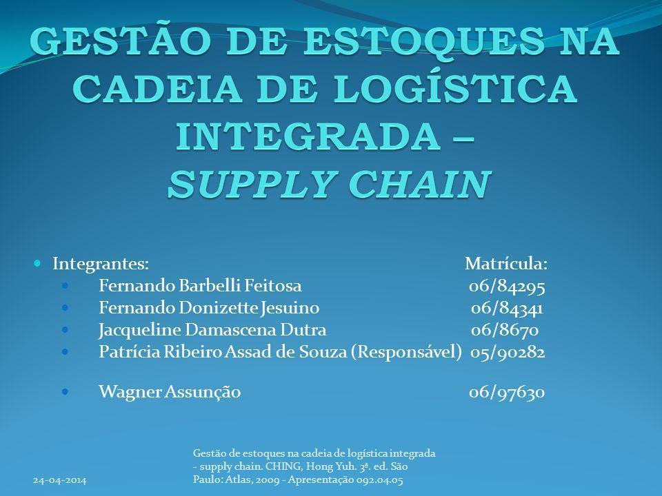 Logistica Integrada Idéia: Nova visão de logística integrada 24-04-2014 Gestão de estoques na cadeia de logística integrada - supply chain.