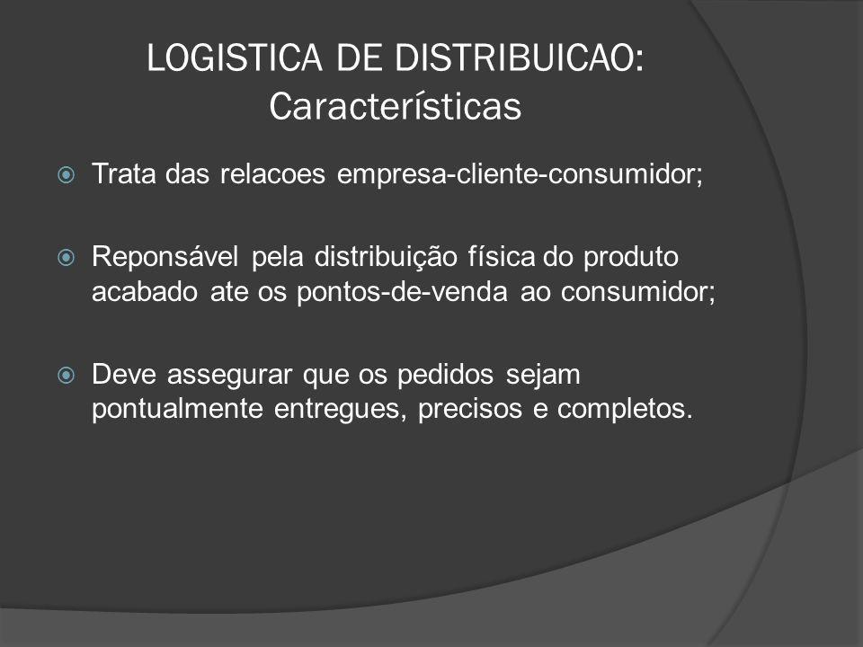 LOGISTICA DE DISTRIBUICAO: Características Trata das relacoes empresa-cliente-consumidor; Reponsável pela distribuição física do produto acabado ate o
