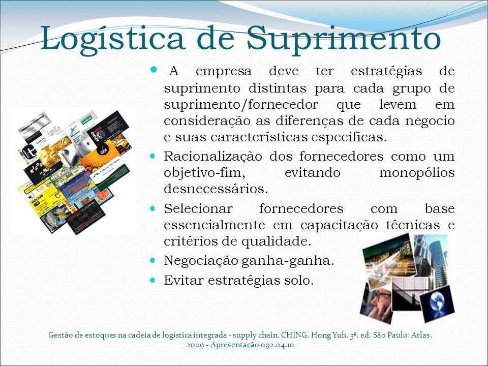 Logística de Suprimento A empresa deve ter estratégias de suprimento distintas para cada grupo de suprimento/fornecedor que levem em consideração as d