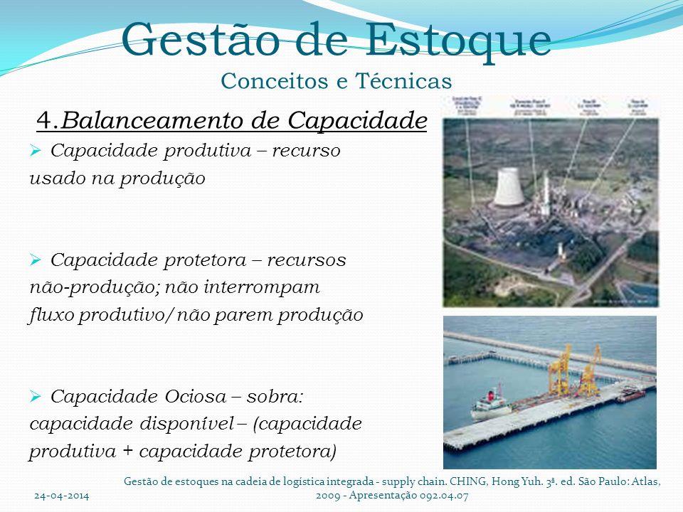 Gestão de Estoque Conceitos e Técnicas 4. Balanceamento de Capacidade Capacidade produtiva – recurso usado na produção Capacidade protetora – recursos