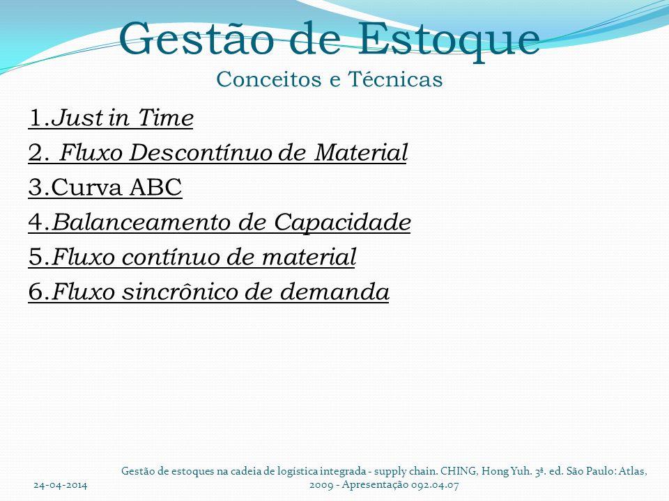 Gestão de Estoque Conceitos e Técnicas 1. Just in Time 2. Fluxo Descontínuo de Material 3.Curva ABC 4. Balanceamento de Capacidade 5. Fluxo contínuo d