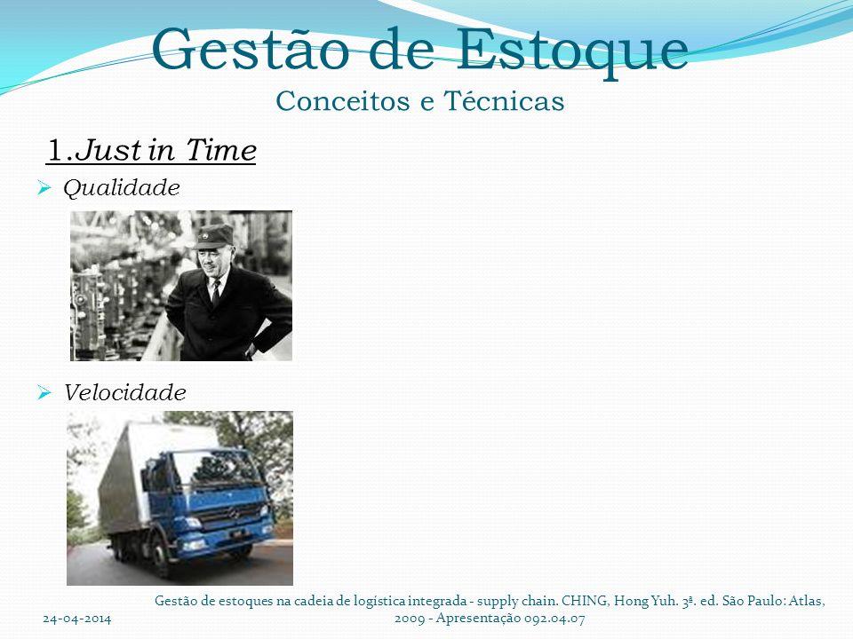 Gestão de Estoque Conceitos e Técnicas 1. Just in Time Qualidade Velocidade 24-04-2014 Gestão de estoques na cadeia de logística integrada - supply ch