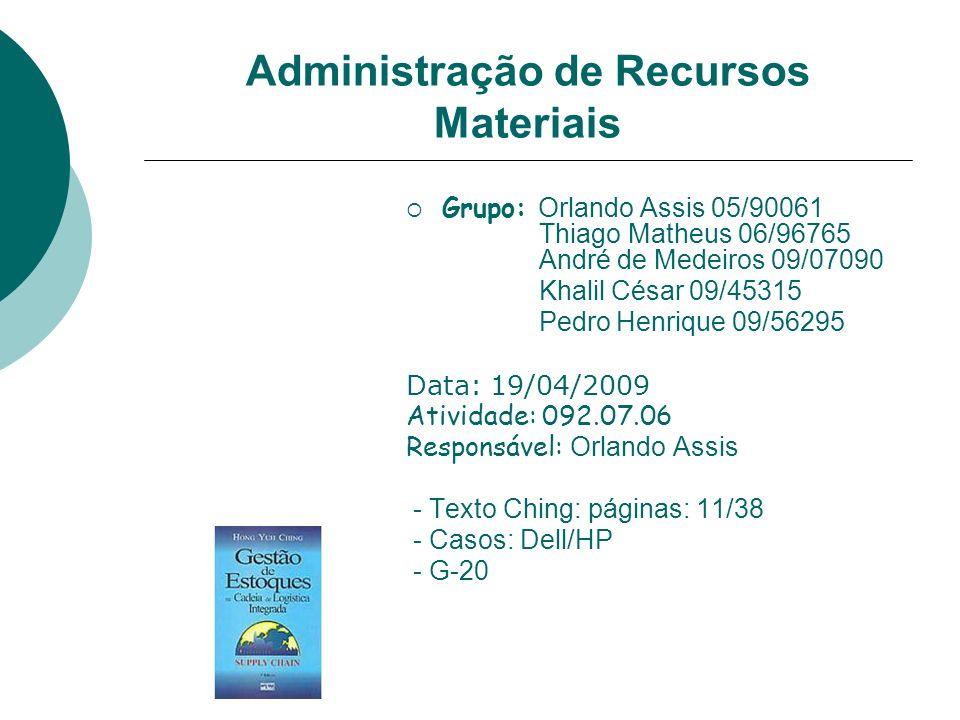 Administração de Recursos Materiais Grupo: Orlando Assis 05/90061 Thiago Matheus 06/96765 André de Medeiros 09/07090 Khalil César 09/45315 Pedro Henri