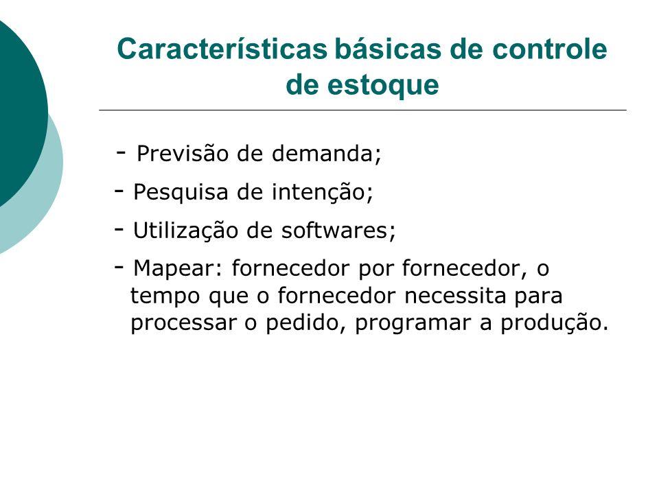 Características básicas de controle de estoque - Previsão de demanda; - Pesquisa de intenção; - Utilização de softwares; - Mapear: fornecedor por forn