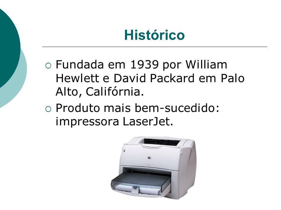 Histórico Fundada em 1939 por William Hewlett e David Packard em Palo Alto, Califórnia. Produto mais bem-sucedido: impressora LaserJet.