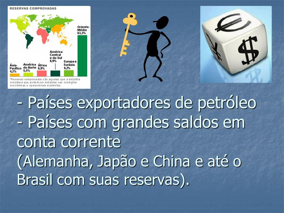 - Países exportadores de petróleo - Países com grandes saldos em conta corrente ( Alemanha, Japão e China e até o Brasil com suas reservas).
