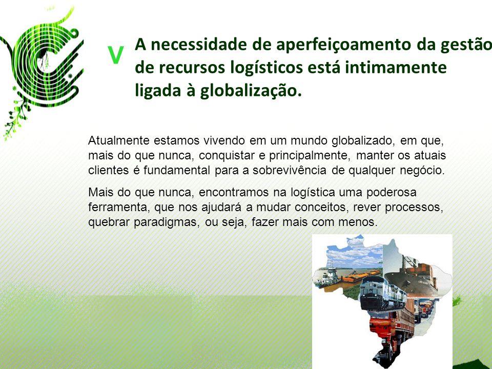 A necessidade de aperfeiçoamento da gestão de recursos logísticos está intimamente ligada à globalização. V Atualmente estamos vivendo em um mundo glo
