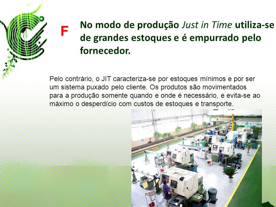 No modo de produção Just in Time utiliza-se de grandes estoques e é empurrado pelo fornecedor. F Pelo contrário, o JIT caracteriza-se por estoques mín