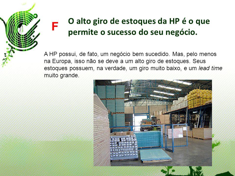 O alto giro de estoques da HP é o que permite o sucesso do seu negócio. F A HP possui, de fato, um negócio bem sucedido. Mas, pelo menos na Europa, is
