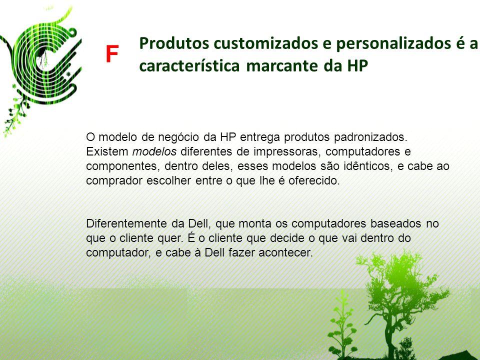 Produtos customizados e personalizados é a característica marcante da HP F O modelo de negócio da HP entrega produtos padronizados. Existem modelos di
