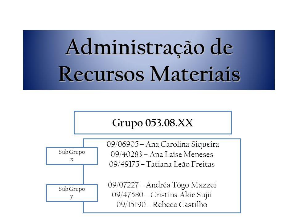Administração de Recursos Materiais 09/06905 – Ana Carolina Siqueira 09/40283 – Ana Laíse Meneses 09/49175 – Tatiana Leão Freitas 09/07227 – Andréa Tô