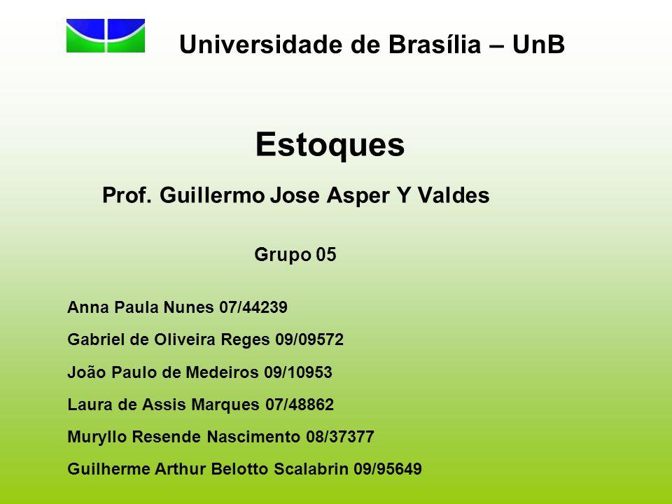 Estoques Prof. Guillermo Jose Asper Y Valdes Grupo 05 Anna Paula Nunes 07/44239 Gabriel de Oliveira Reges 09/09572 João Paulo de Medeiros 09/10953 Lau