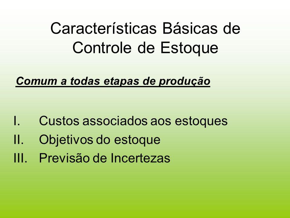 Características Básicas de Controle de Estoque I.Custos associados aos estoques II.Objetivos do estoque III.Previsão de Incertezas Comum a todas etapa