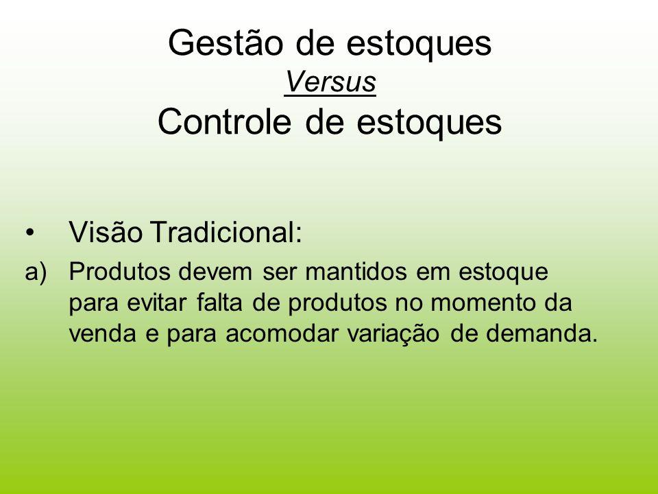 Gestão de estoques Versus Controle de estoques Visão Tradicional: a)Produtos devem ser mantidos em estoque para evitar falta de produtos no momento da