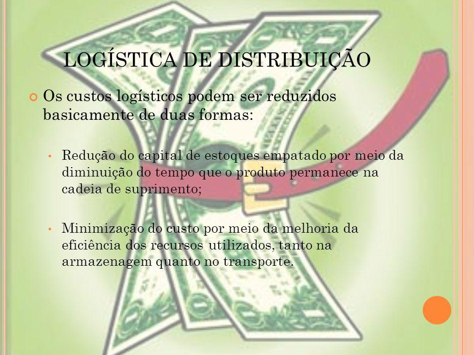 LOGÍSTICA DE DISTRIBUIÇÃO Os custos logísticos podem ser reduzidos basicamente de duas formas: Redução do capital de estoques empatado por meio da dim