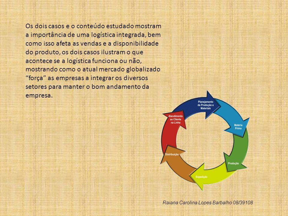 Os dois casos e o conteúdo estudado mostram a importância de uma logística integrada, bem como isso afeta as vendas e a disponibilidade do produto, os
