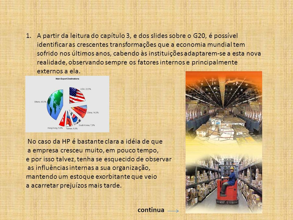1.A partir da leitura do capítulo 3, e dos slides sobre o G20, é possível identificar as crescentes transformações que a economia mundial tem sofrido